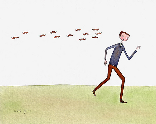 """The mustaches chased him zealously"" by Marc Johns"